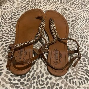 Brown and gold chain thong sandals